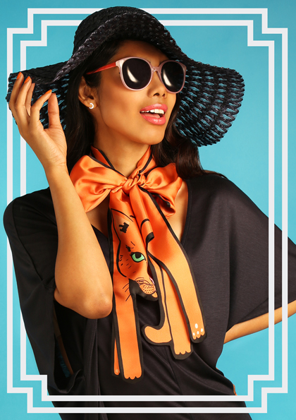 Cat in Orange - designer silk scarf - Cleo Ferin Mercury SS17.jpg