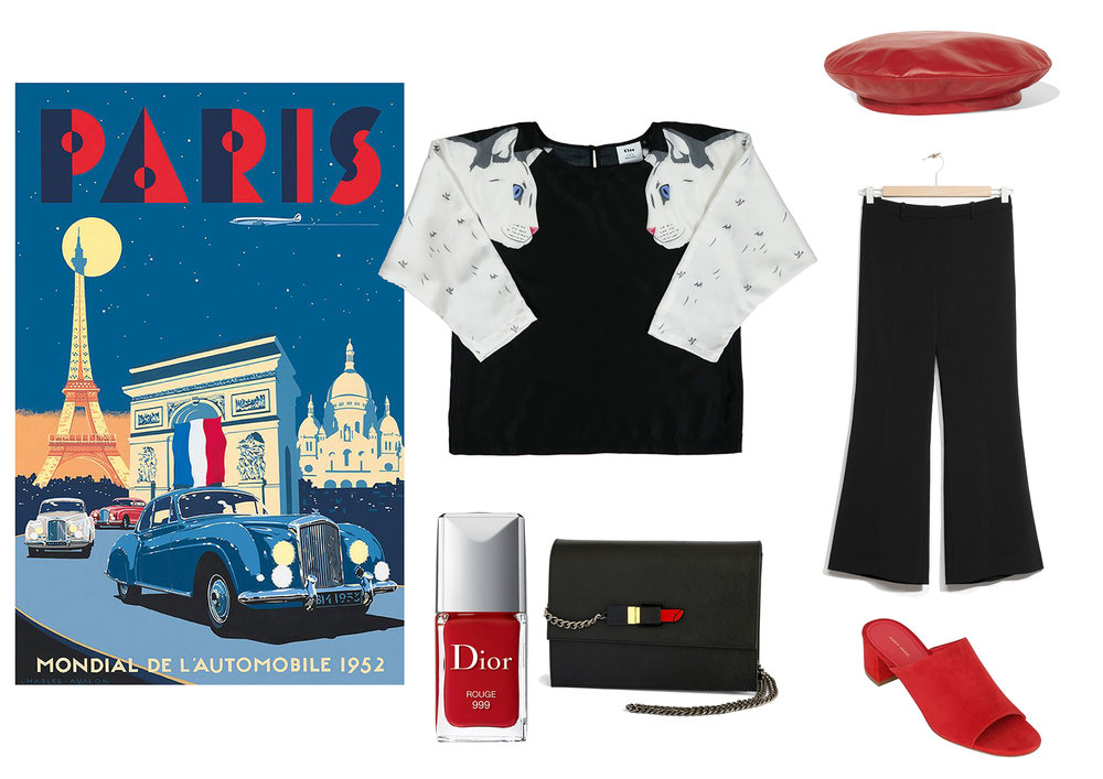 Cat blouse by Cléo Ferin Mercury, Red leather beret by Gucci, Black trousers by &Other Stories, Red mules by Mansur Gabriel, Handbag by Yazbukey, Red nail vanish by Dior.