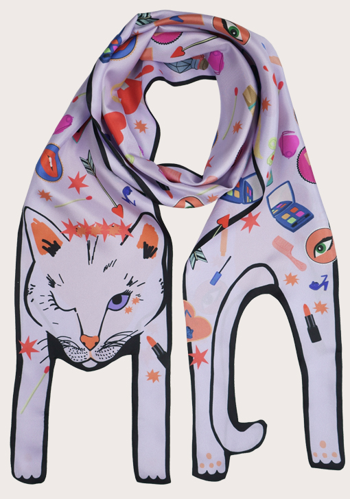 Love Potion Cat - Silk Scarf