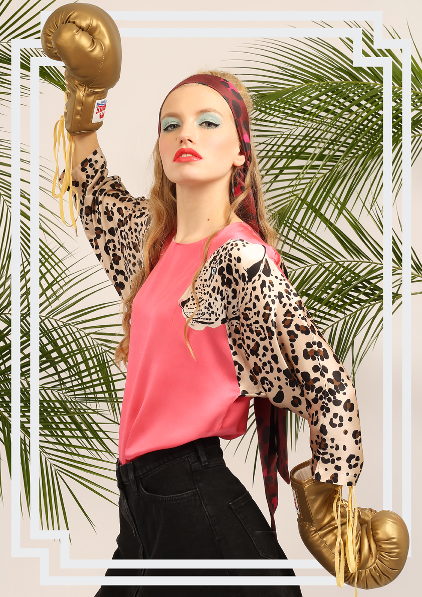 Jaguar Blouse In Pink - Jaguar Print Top - Womens - Cotton:Silk.jpg