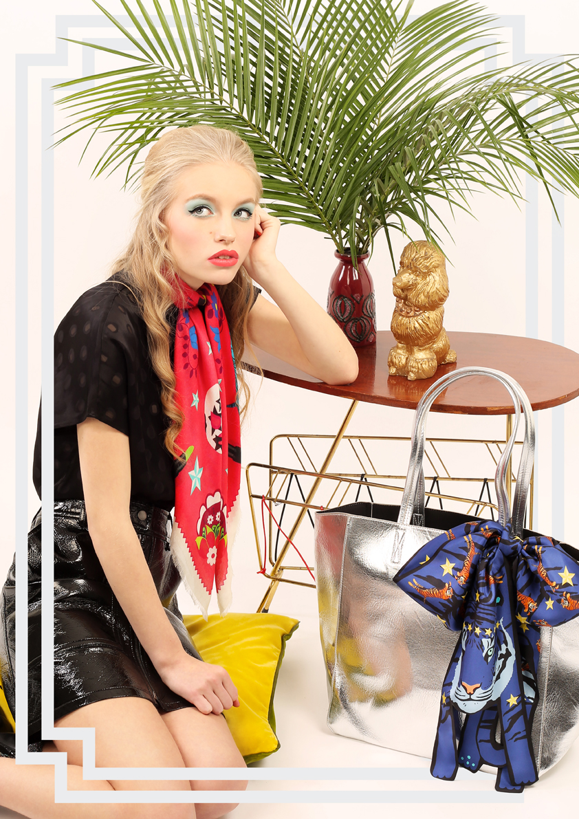 Medium Tigers & Fowers Silk Scarf Light.jpg