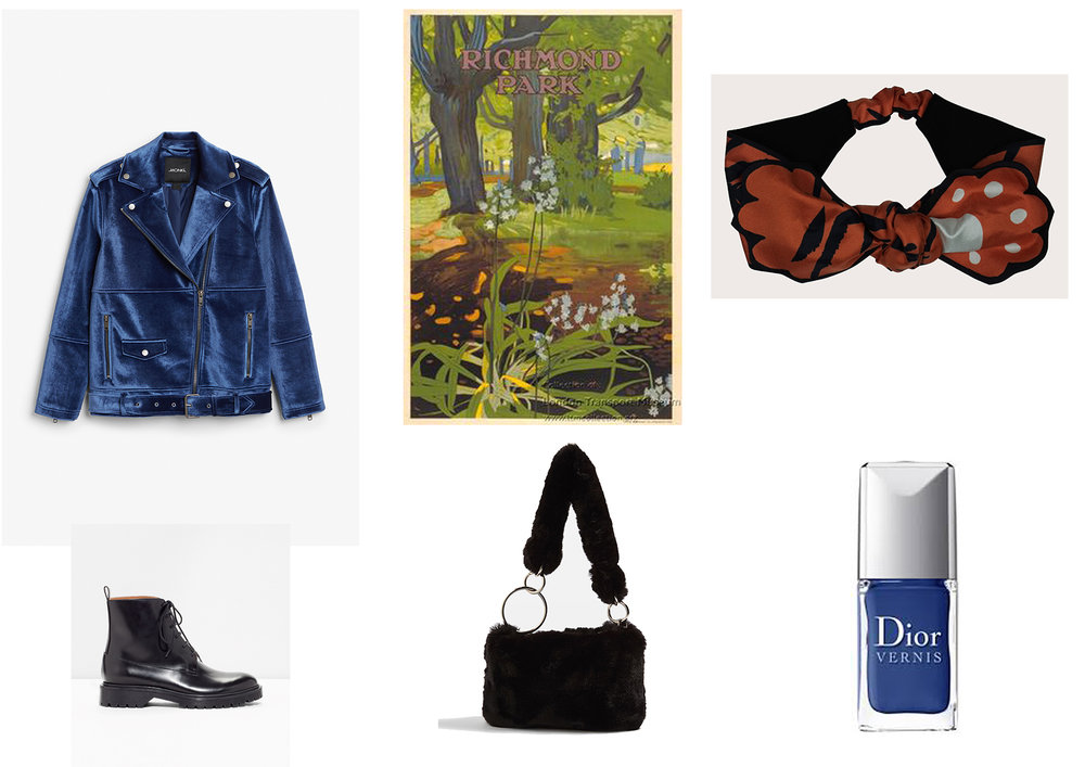 Velvet Biker Jacket by Monki ,  Turban Headband by Cléo Ferin Mercury ,  Boots by &Other Stories ,  Bag by Topshop  and  Nail Varnish by Dior .