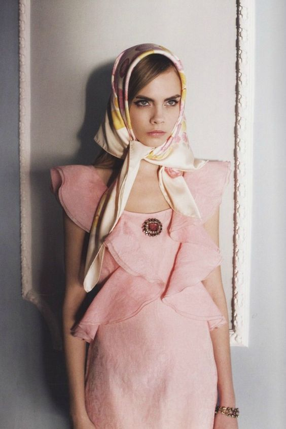 This Month's Favourite Scarf Knots - As seen in fashion editorials cara delevingne 3.jpg