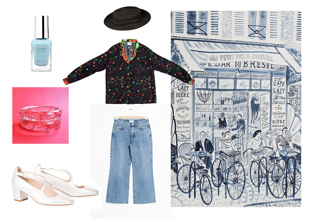 Beautiful illustration by  Emily Sutton .  Shop the look:  Nail varnish by Barry M ,  Bangles by Bow and Crossbones ,  Shoes by Camilla Elphick ,  Hat by Mademoiselle Chapeaux ,  Shirt by Cléo Ferin Mercury ,  Jeans by &Other Stories.
