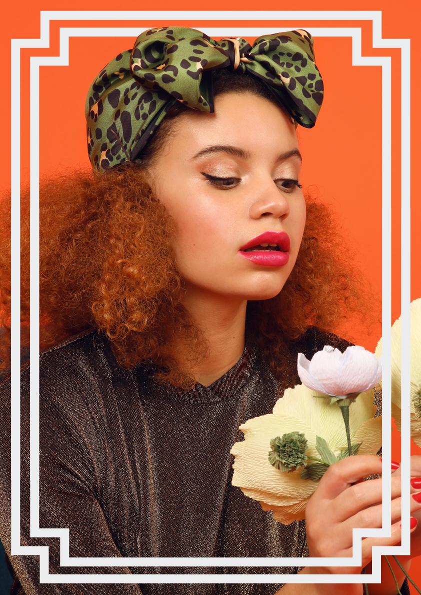 Cleo Ferin Mercury AW18 Designer Small Green Leopard Silk Scarf Headscarf Bow Knot.jpg