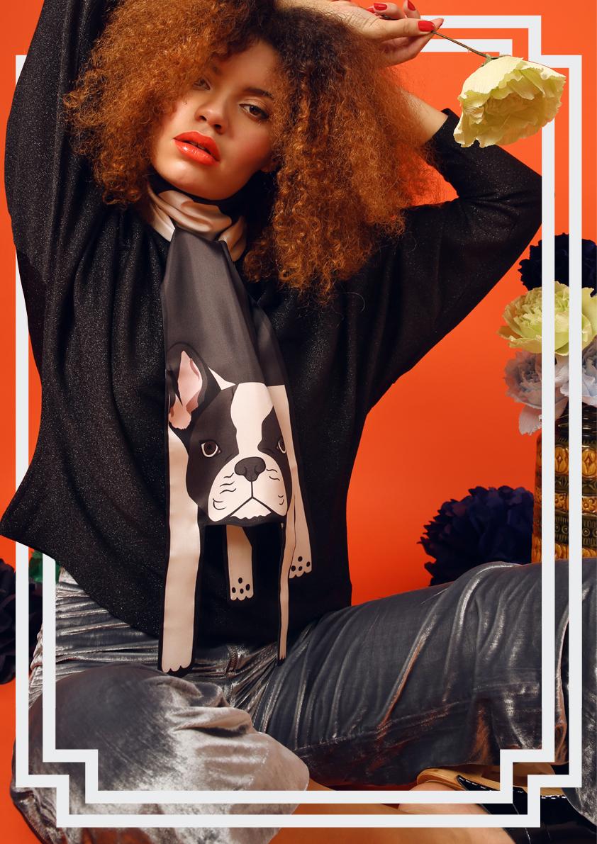 法国斗牛犬印花真丝围巾动物包裹结 - 动物印花真丝围巾及配饰
