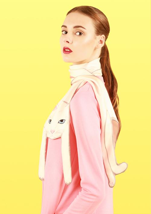 白色 - 貓打印 - 猫打印 - 動物真絲圍巾 - 动物真丝围巾 - 原版的 - 英国设计