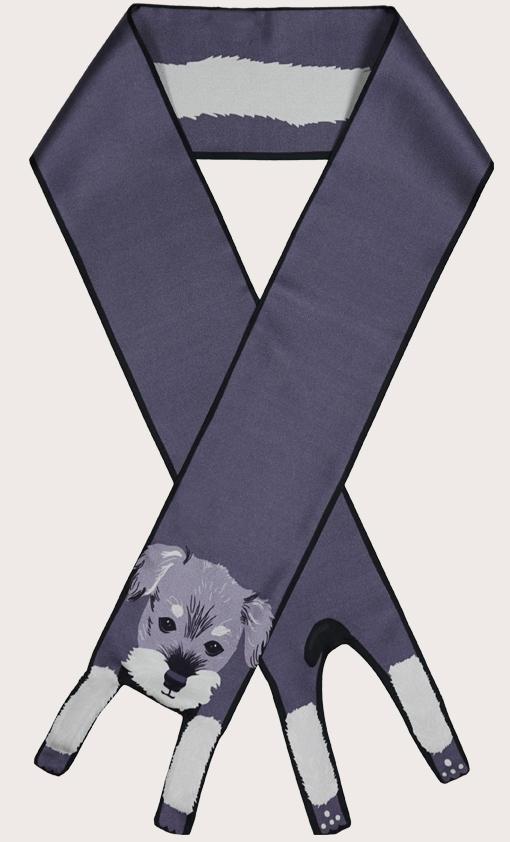 設計師 雪納瑞印花 - 雪纳瑞印花 - 動物真絲圍巾 - 动物真丝围巾 - Cleo Ferin Mercury 原版的 - 英国设计.jpg