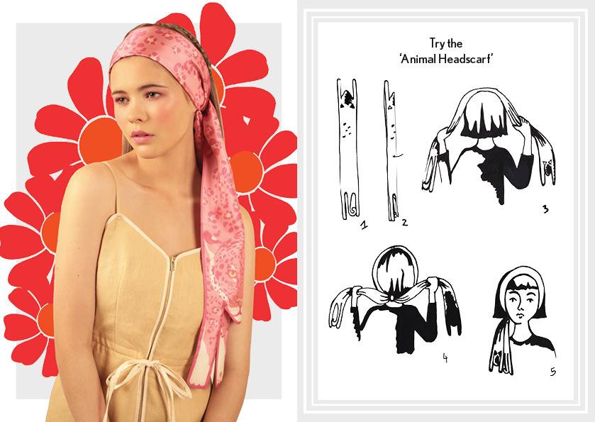 动物头巾柔和的粉红色豹纹 - 如何穿丝巾 - 如何打结动物长丝巾 - 动物图案 - 时尚围巾结 - cleo ferin mercury - saturday scarf knot.jpg