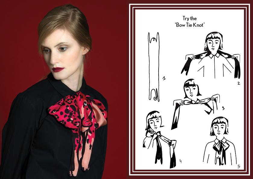 蝴蝶结结粉红色美洲虎 - 如何穿丝巾 - 动物长丝巾 - 时尚围巾结 - 豹纹 - 动物图案 - cleo ferin mercury - saturday scarf knot - 每日围巾结.jpg