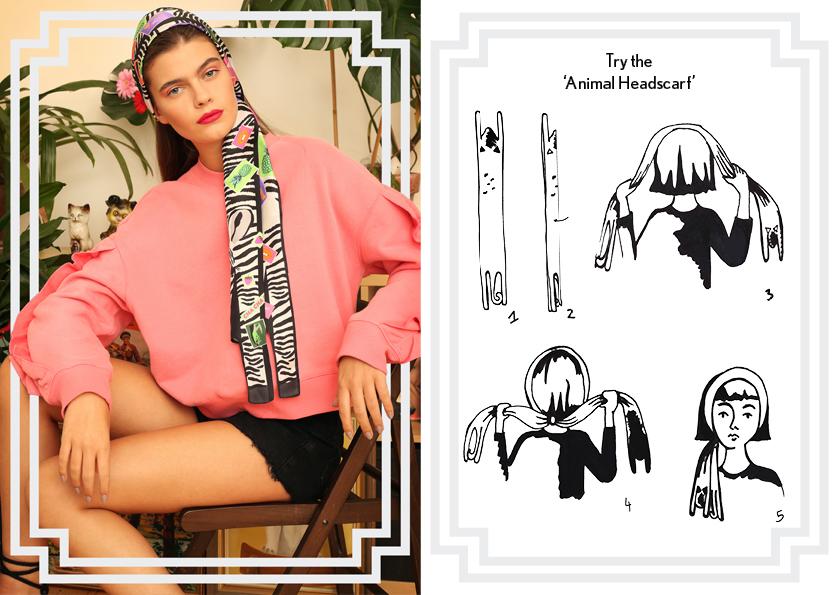 围巾结 - 斑马纹 - 如何穿斑马纹真丝围巾 - 动物纹 - 时尚围巾结 - 头巾结 - cleo ferin mercury - sunday scarf knot - 每日围巾结.jpg