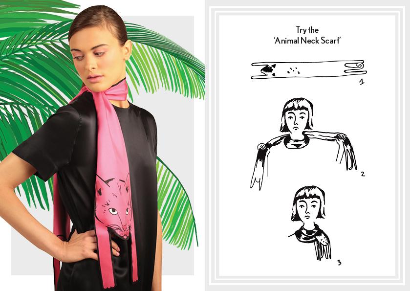 动物围巾霓虹粉红猫 - 如何穿丝巾 - 如何打结动物长丝围巾 - 动物印花 - 时尚围巾结 - cleo ferin mercury - monday scarf knot - 每日围巾结.jpg
