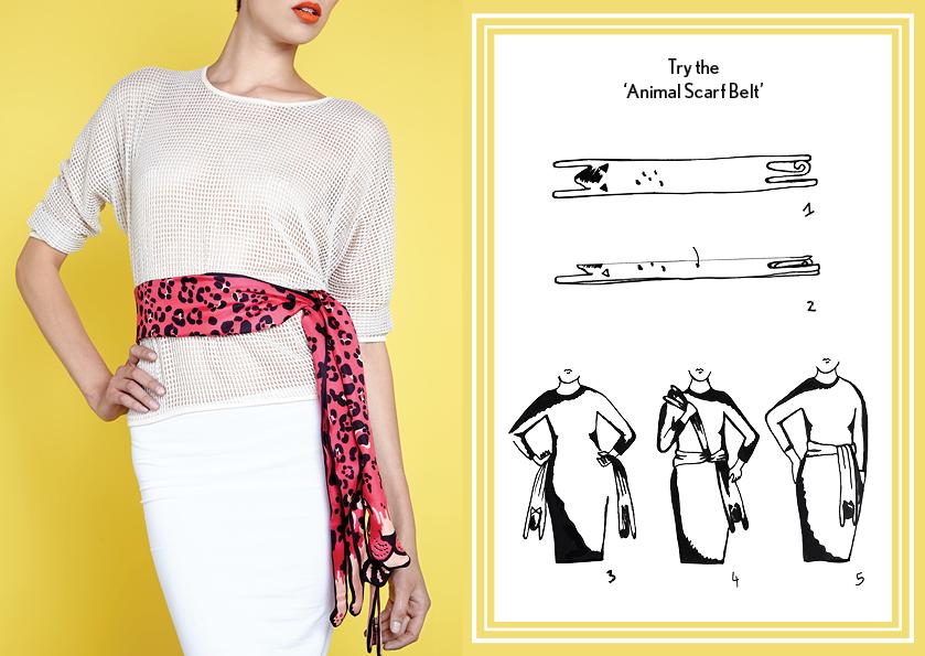 动物围巾腰带粉色豹纹 - 如何穿丝绸围巾 - 动物长丝巾 - 动物图案 - 时尚围巾结 - cleo ferin mercury - tuesday scarf knot - 每日围巾结.jpg