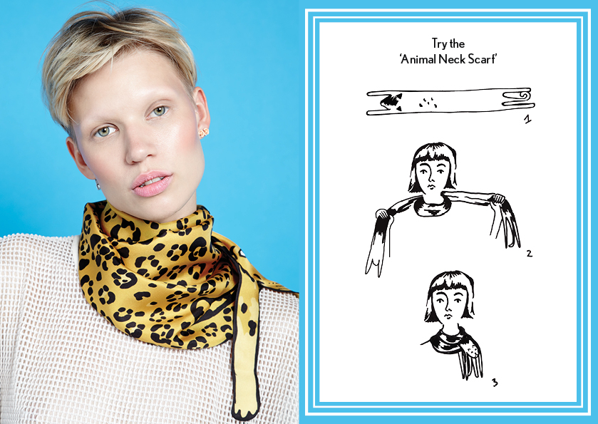 动物围巾金豹 - 如何穿丝巾 - 动物长丝围巾 - 动物印花 - 时尚围巾结 - cleo ferin mercury - wednesday scarf knot - 每日围巾结.jpg