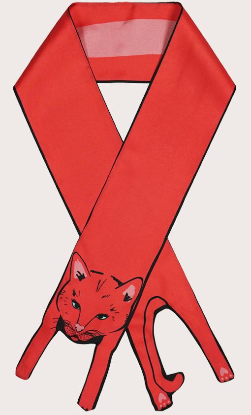 赢一条动物围巾 - 微型 紅 貓打印 - 動物真絲圍巾 - 动物真丝围巾 - Cleo Ferin Mercury 原版的 - 英国设计.jpg