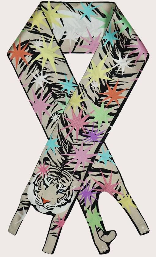 赢一条动物围巾 - 微型 老虎印 - 火花 - 動物真絲圍巾 - 动物真丝围巾 - Cleo Ferin Mercury 原版的 - 英国设计.jpg