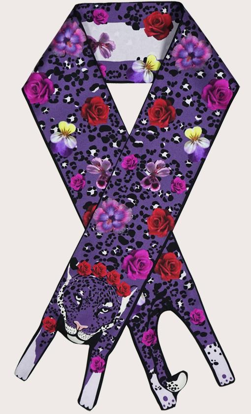 赢一条动物围巾 - 微型 花的 美洲虎印刷品 - 捷豹印花 - 豹紋 - 動物真絲圍巾 - 动物真丝围巾 - Cleo Ferin Mercury 原版的 - 英国设计.jpg