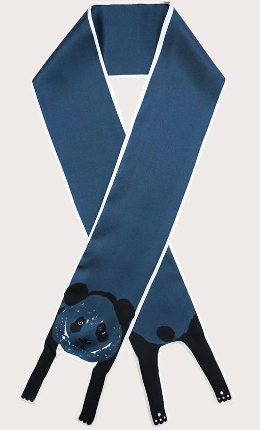 赢一条动物围巾 - 微型 藍色 熊貓印花 - 動物真絲圍巾 - 动物真丝围巾 - Cleo Ferin Mercury 原版的 - 英国设计.jpg
