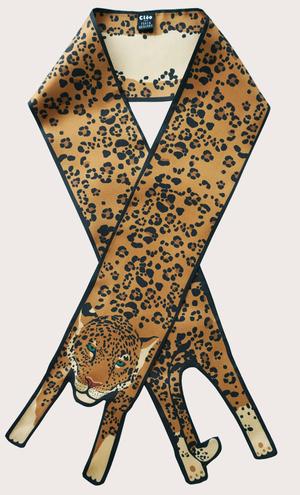 赢一条动物围巾 - 微型 金 美洲虎印刷品 - 捷豹印花 - 豹紋 - 動物真絲圍巾 - 动物真丝围巾 - Cleo Ferin Mercury 原版的 - 英国设计.jpg