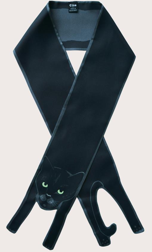 赢一条动物围巾 - 微型 黑色 貓打印 - 動物真絲圍巾 - 动物真丝围巾 - Cleo Ferin Mercury 原版的 - 英国设计.jpg