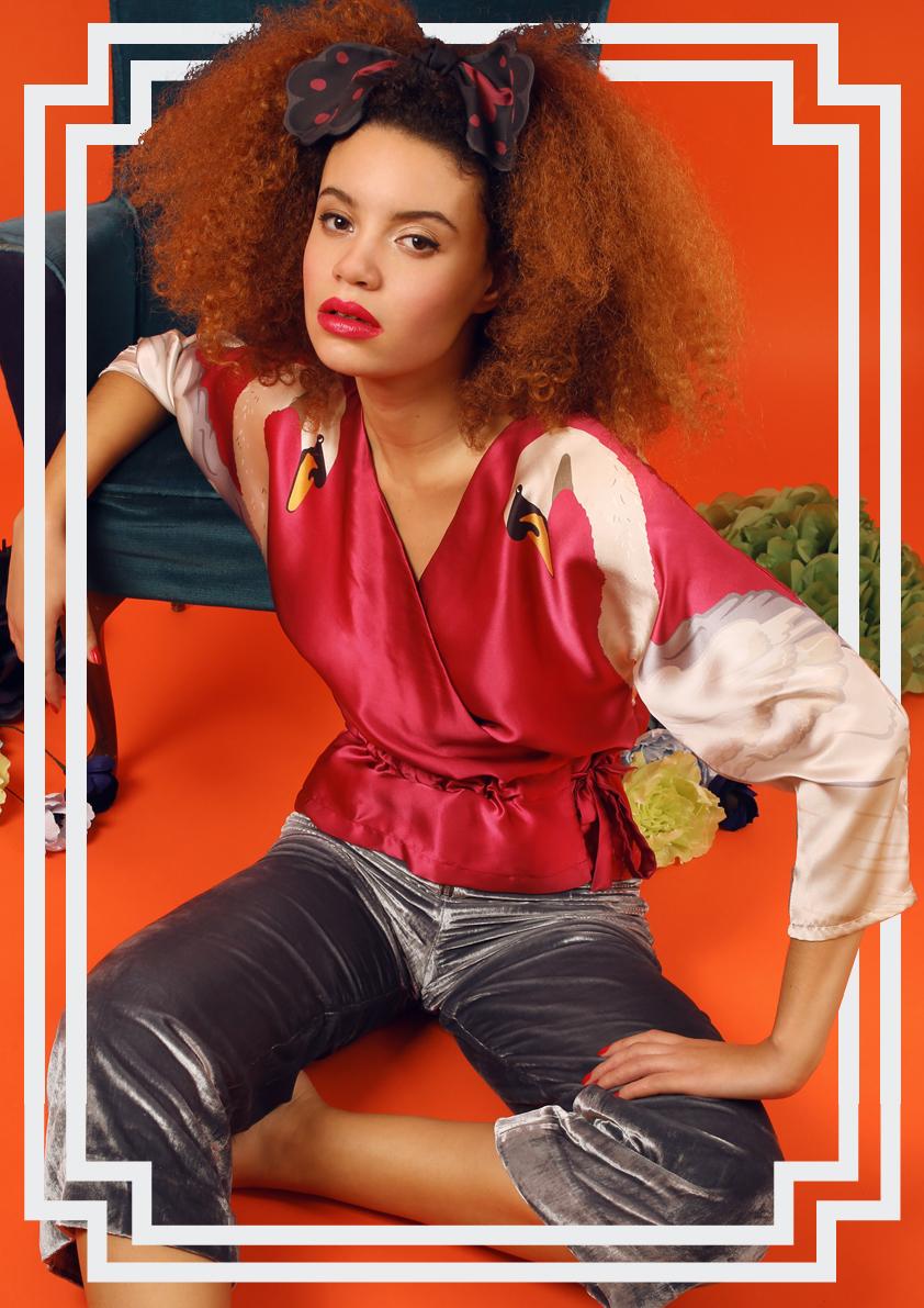 Cleo Ferin Mercury AW18 Designer Swan Silk Satin Wrap Top.jpg