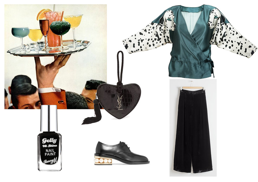 Black nail varnish by Barry M ,  Heart shaped bag by Saint Laurent ,  Brogues by Nicholas Kirkwood ,  Top by Cléo Ferin-Mercury ,  Trousers by &Other Stories .