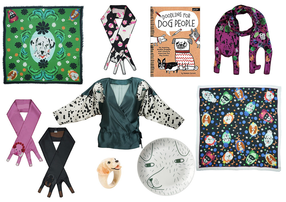 Clockwise :  Dalmatian Square Scarf  and  French Bulldog Silk Scarf  by Cléo Ferin Mercury,  Doodling for Dog People Book by Gemma Correll ,  Dalmatian SIlk Scarf  and  Dog Print Square Scarf Cléo Ferin Mercury ,  Dog Plate by Donna Wilson ,  Labrador by Nach Bijoux ,  Dalmatian Print Top ,  Poodle Silk Scarf  and  Daschund Silk Scarf by Cléo Ferin Mercury .