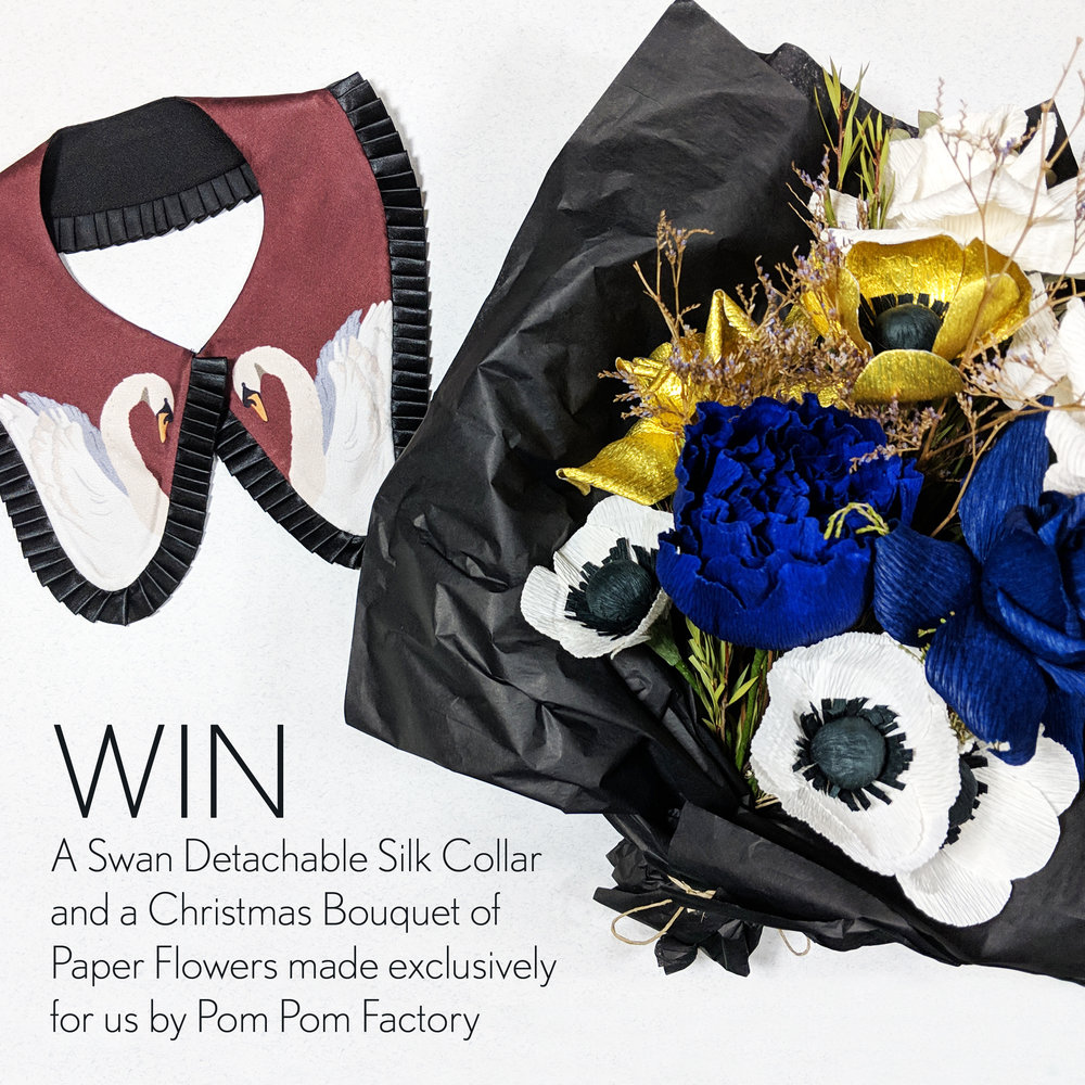 Day 13 - Giveaway Win a Pom Pom Factory Bouquet and a Cleo Ferin Mercury Swan Print Detachable Silk Collar.jpg