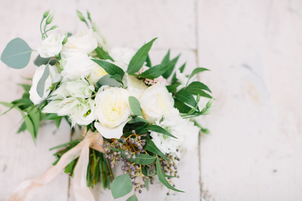 Organic White Bridal Bouquet - Wedfully Yours