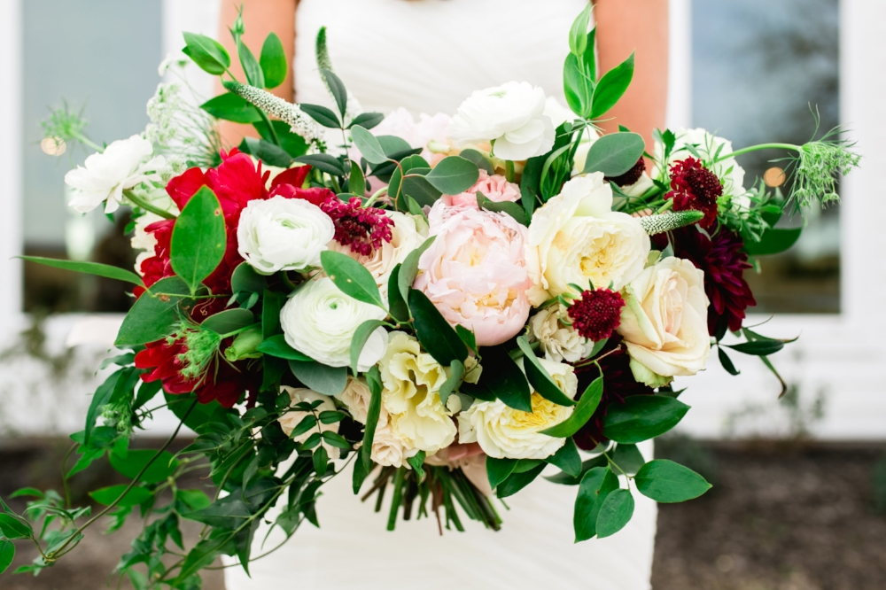 Blush and Red Wedding Flowers - Wedding Florists in Dallas