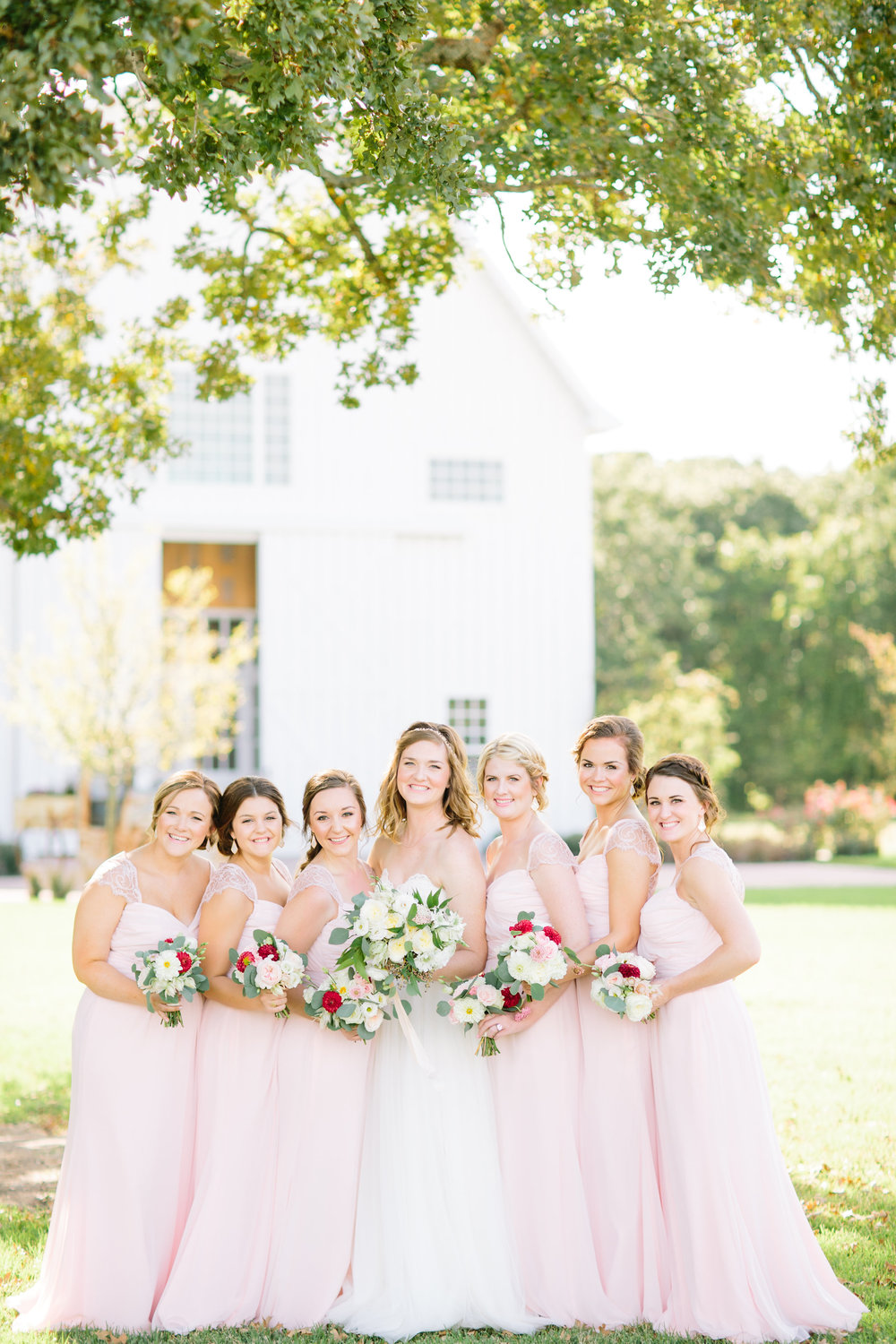 White Sparrow Barn Wedding - Blush Bridesmaid Dresses