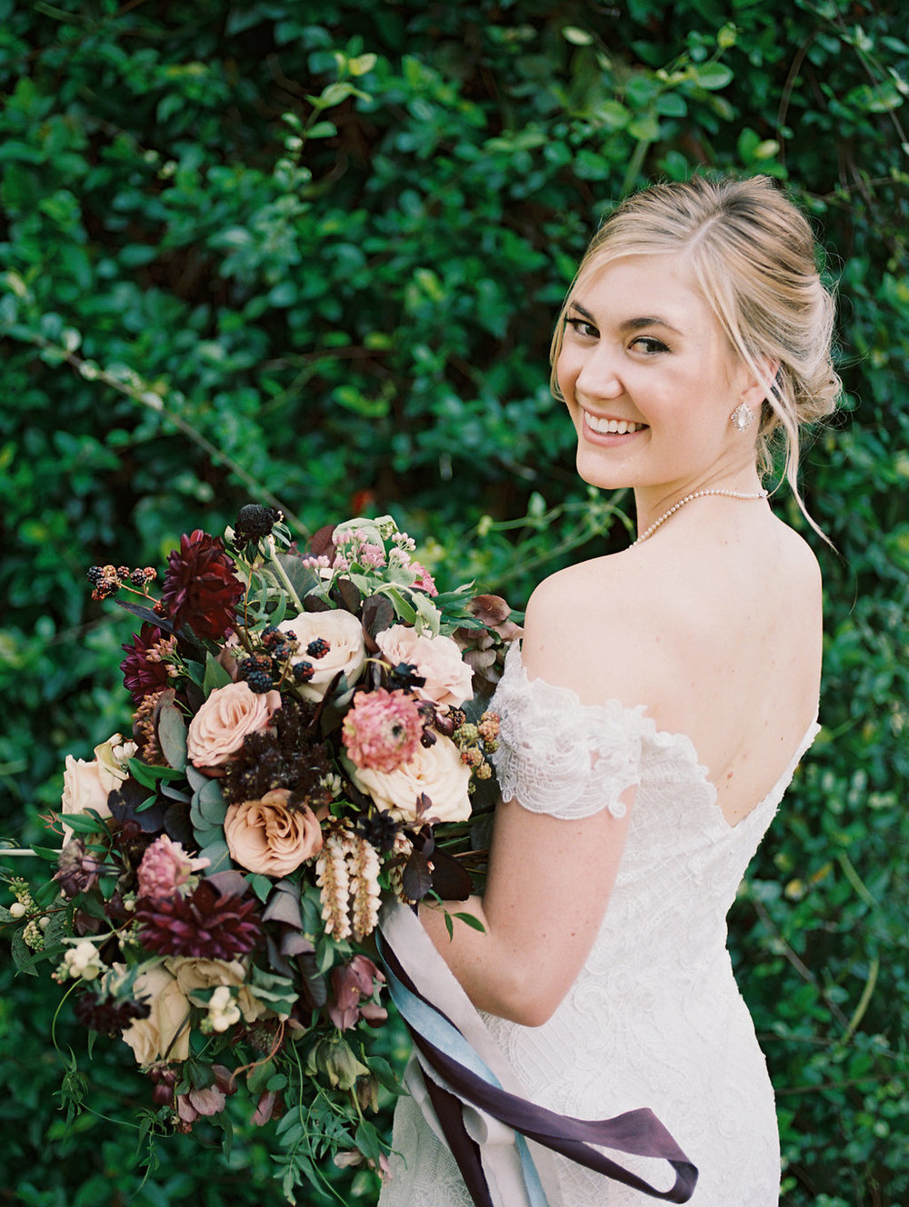 Burgundy and Cream Wedding Flowers - Lush Bridal Bouquet