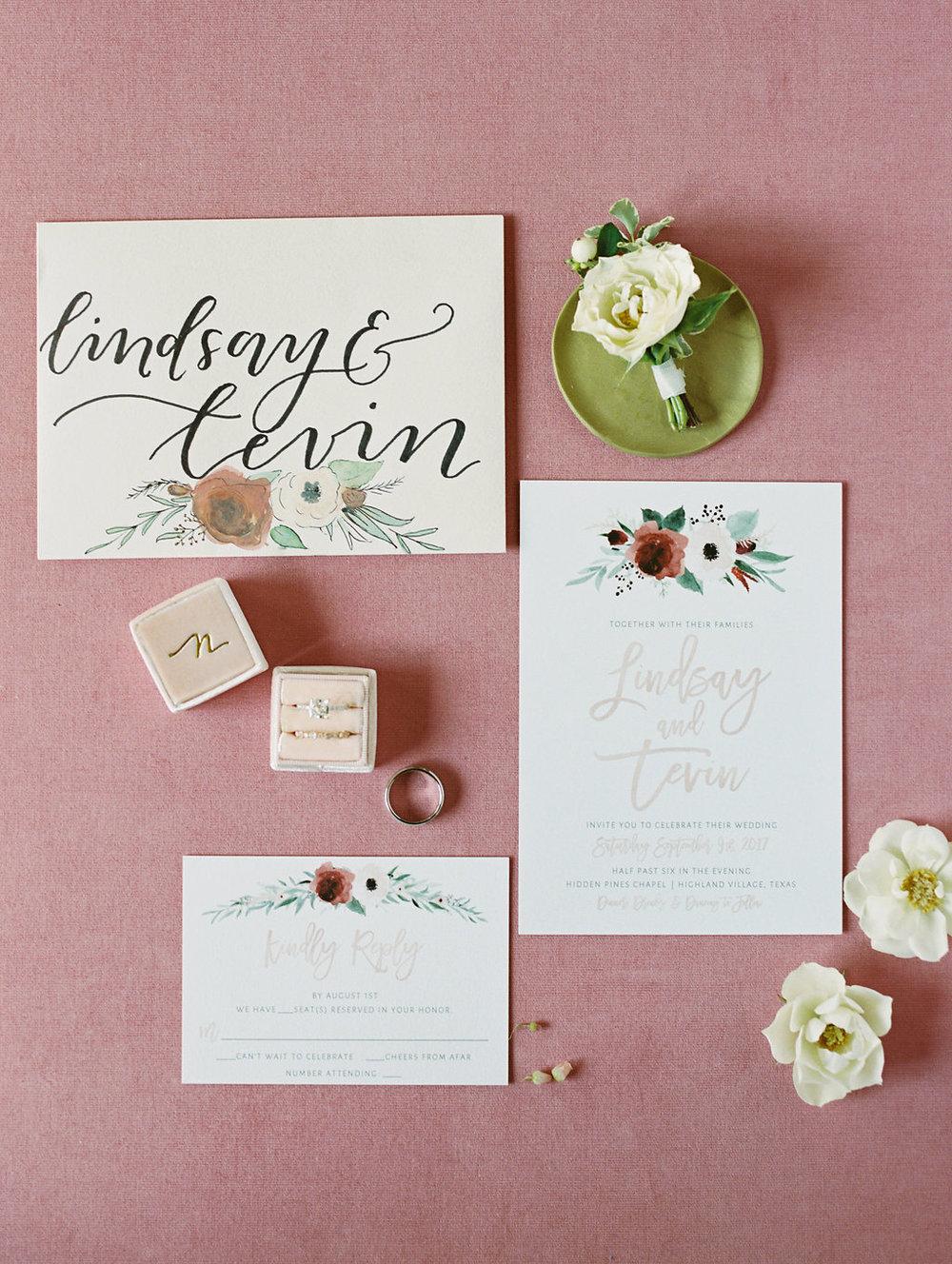 Floral Design Wedding Invitations - Dallas Wedding Planner