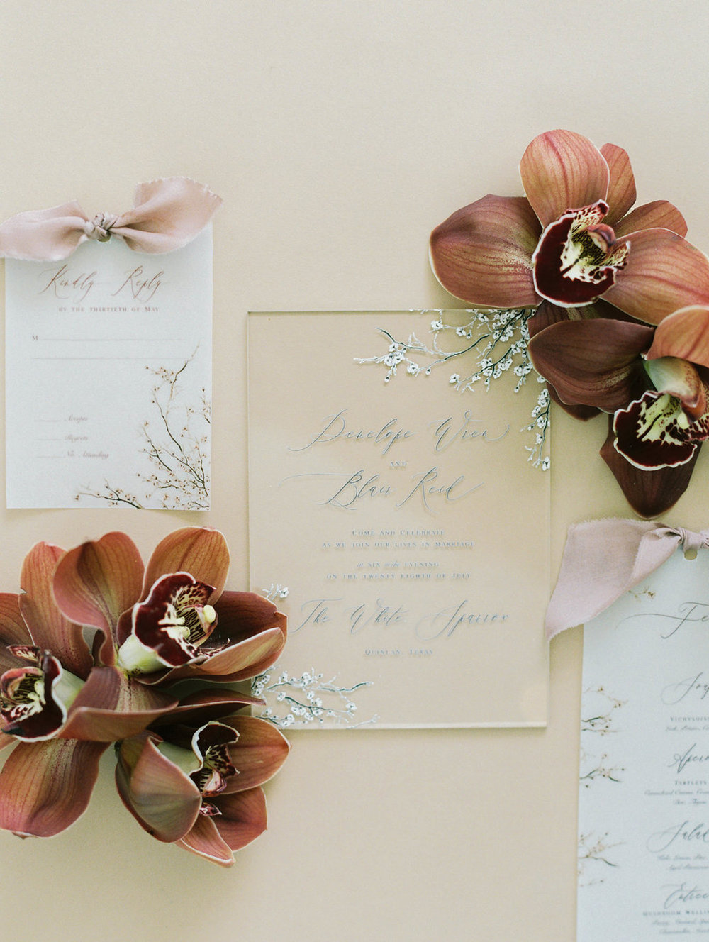 Acrylic and Vellum Wedding Invitations - Wedding Designer in Dallas