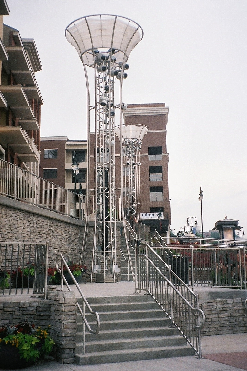 Stainless Steel Light Towers and Railing