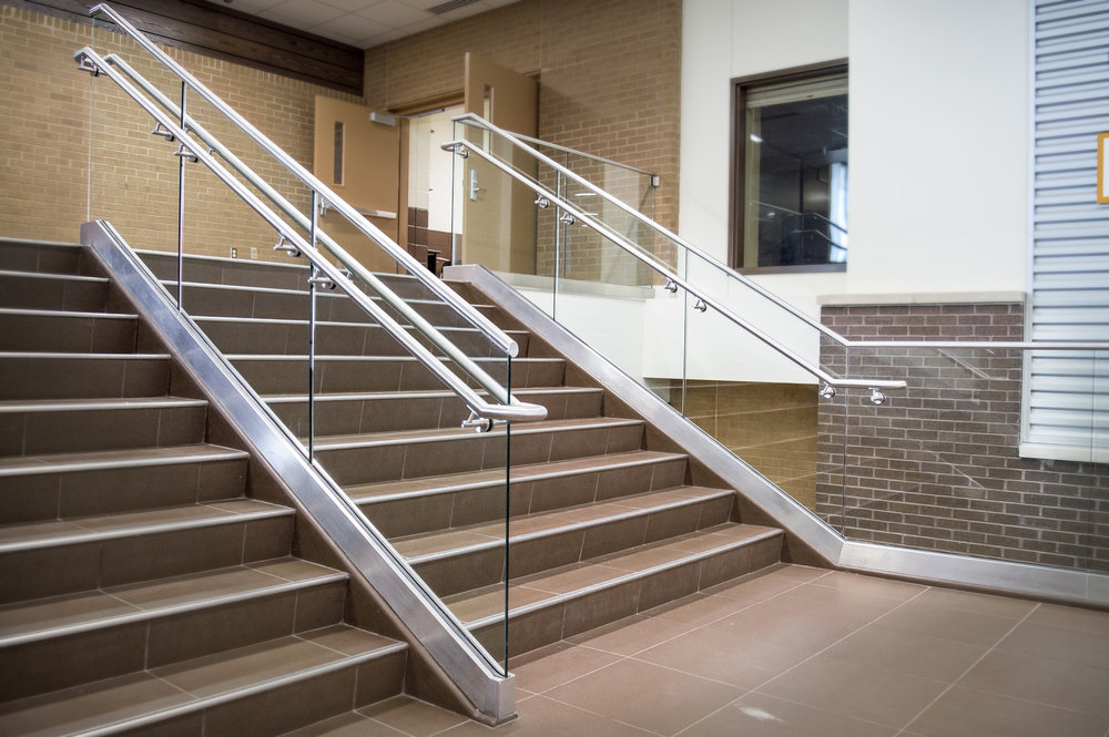 Custom Fabricated Stainless Steel Tempered Glass Panel Guardrail Kickapoo High School