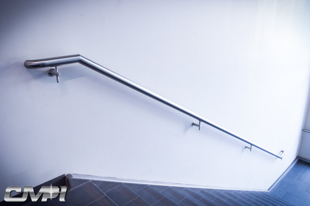 Custom Fabricated Architectural Stainless Steel Single Line Handrail Exterior