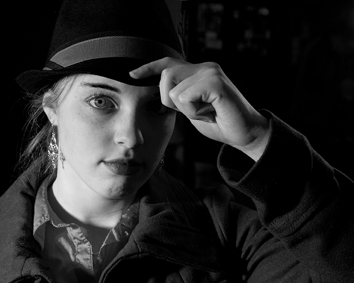 My Film Noir series gave me the opportunity to play with shadows and light with a little added drama from my model.