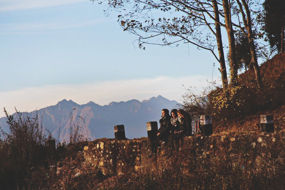 Here is a photo of one of my favorite days. These are my three best friends, Jess, Alyssa, and the Himalayas. Watching sunsets in Nagarkot, Nepal.