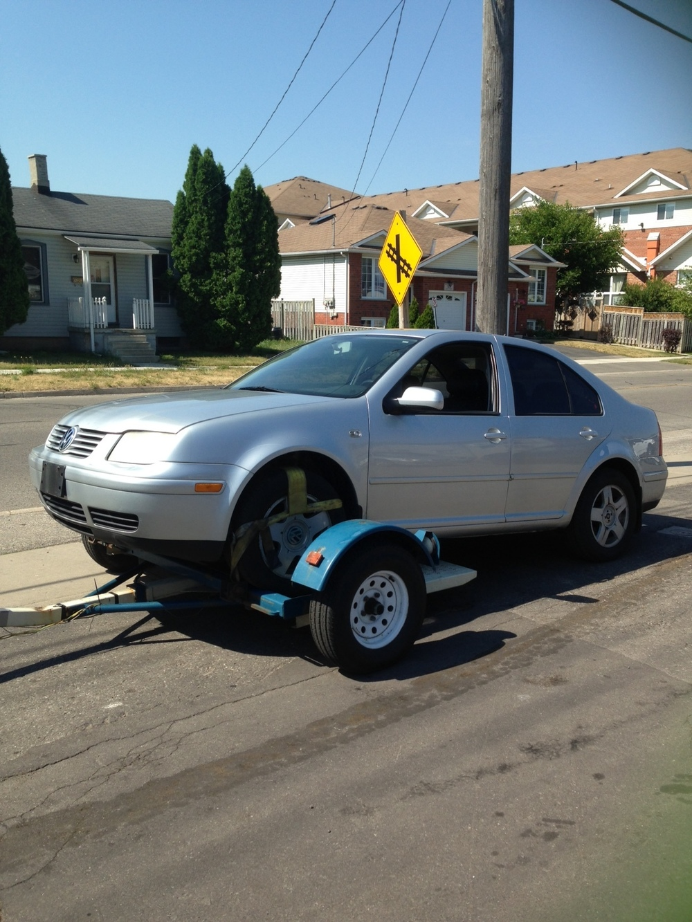 Jetta being towed all around Brantford. What else is new?