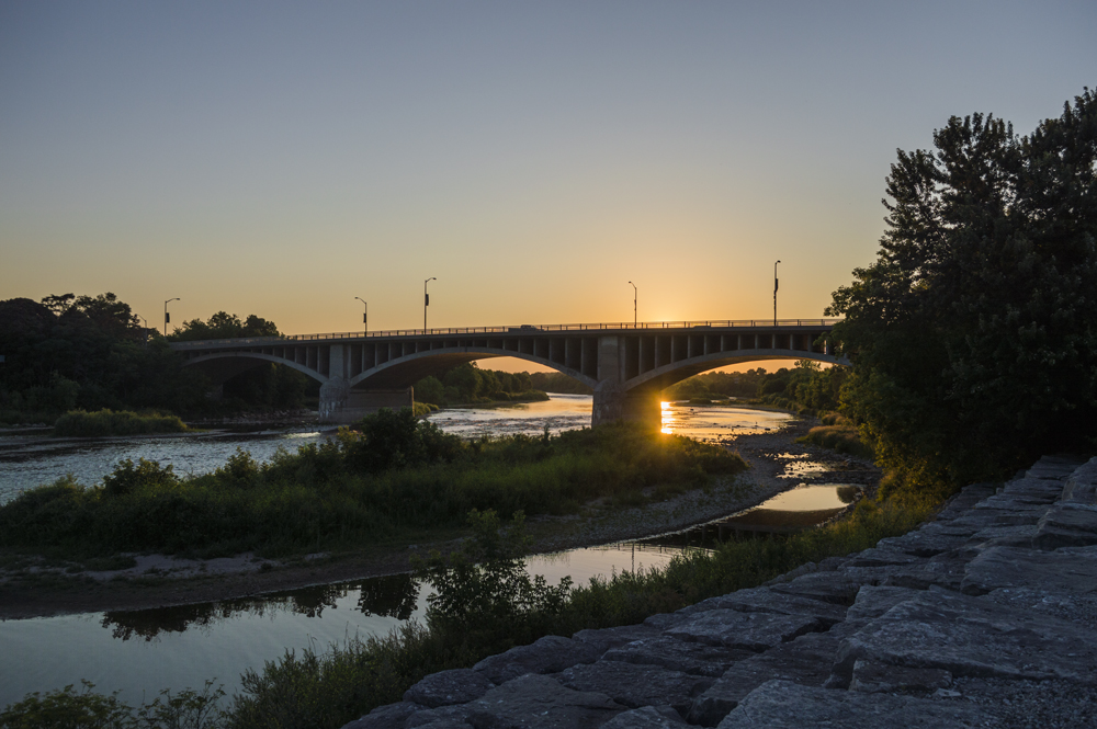 The Grand River in Brantford, Ontario. Time: 8:45pm