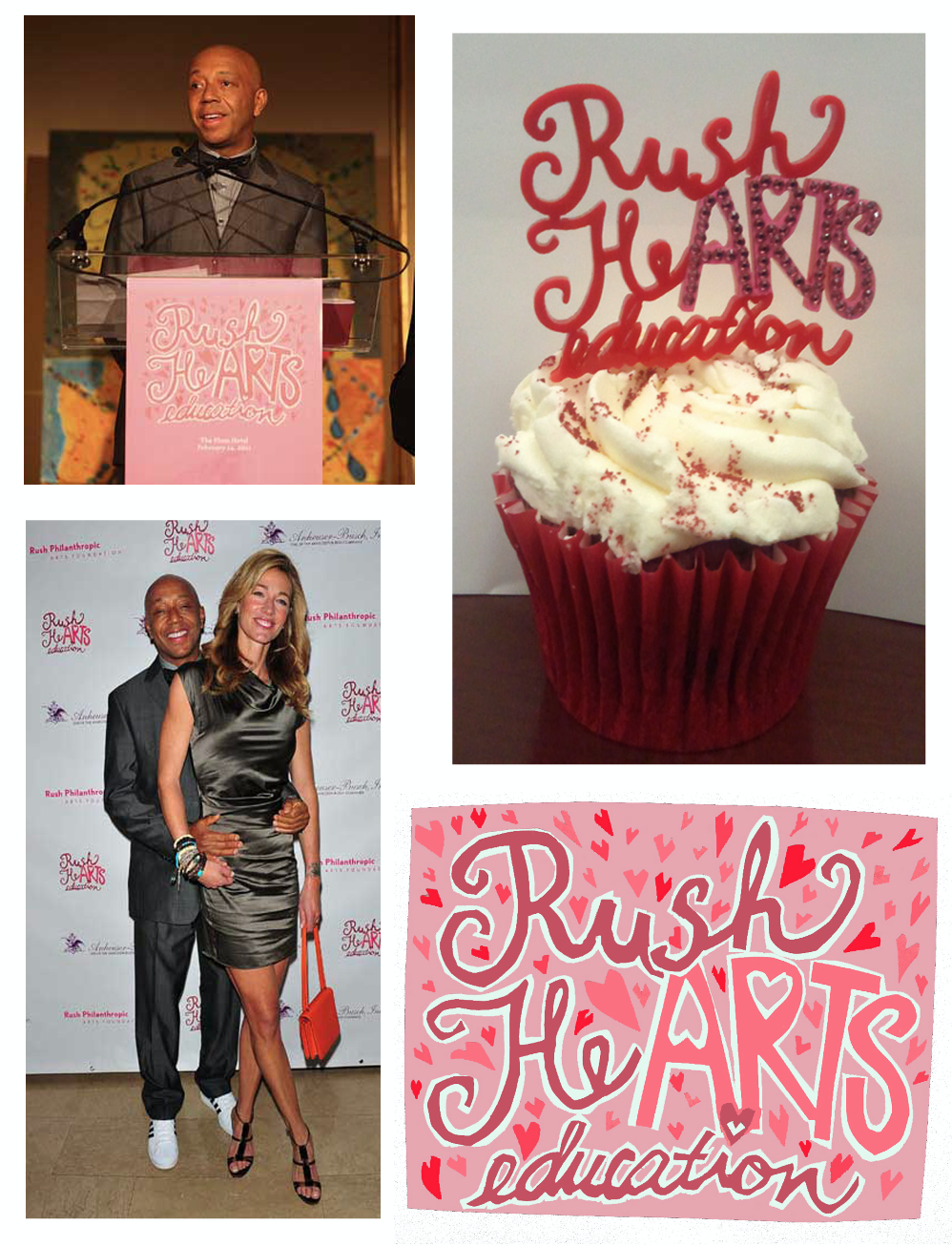 Logo for Rush Philanthropic's annual fundraiser, Rush Hearts Education, in NYC, used in print, on web, and as cupcake toppers at the event
