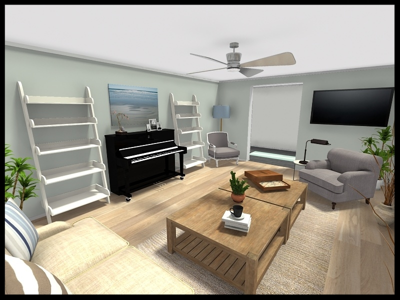 3D image living room space layout