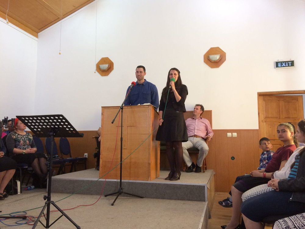 Ethan share his testimony at a gypsy church