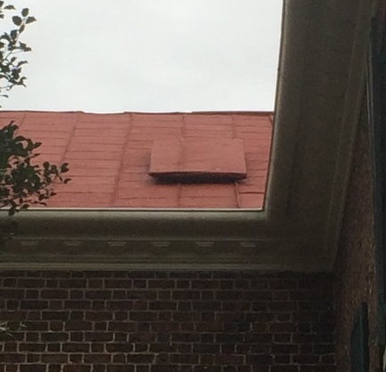 The raised covered section of roof is where a hole was cut and used as a lookout so Union signal officers could see how the Battle of Lynchburg was unfolding.