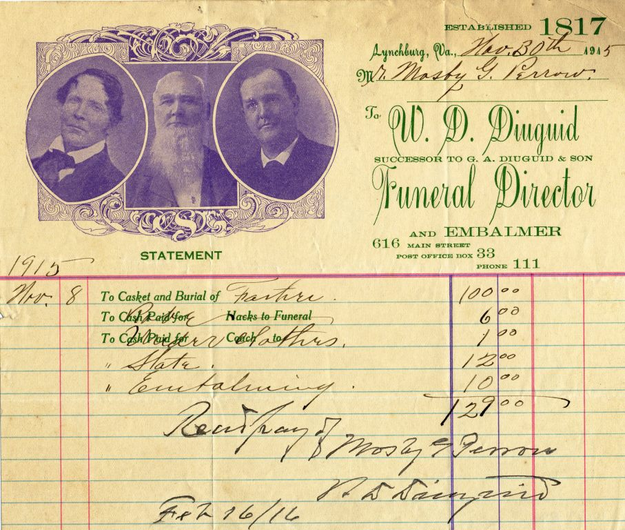 A receipt from Diuguid's dated 1915.