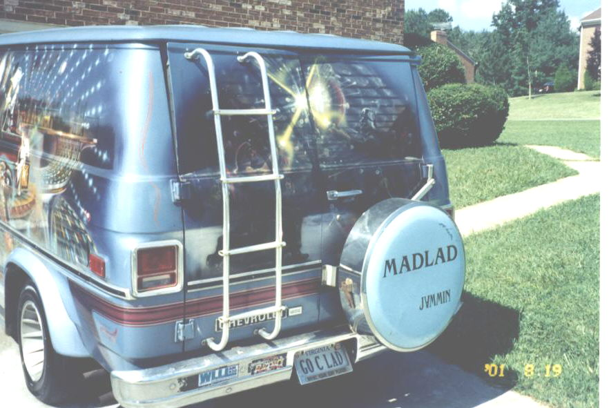 The van DJ Mad Lad drives to events has a customized paint job and is frequently seen around town.