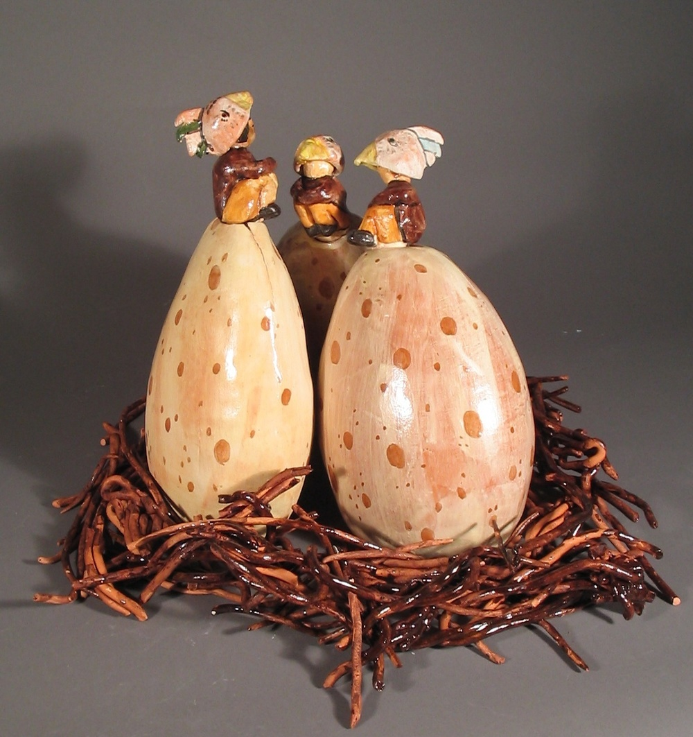 Clay Egg Flasks in Nest