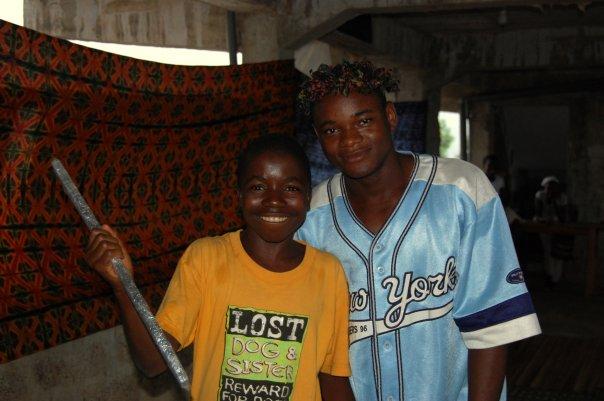Issa and Jimiyke rehearse a scene from Julius Caesar, Sierra Leone
