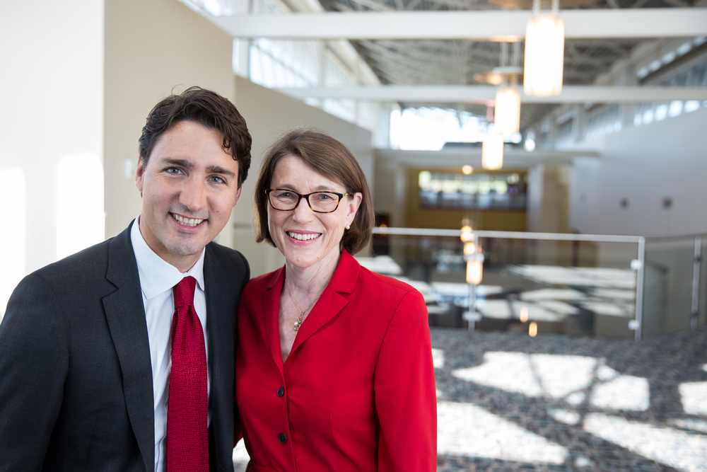 Liz Riley, a candidate for Canadian parliament, and Justin Trudeau, leader of the Liberal Party of Canada. PHOTO: COURTESY LIZ RILEY